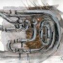 Arte: OBRA GRÁFICA EN TÉCNICA MIXTA SOBRE PAPEL DE TUBAS Y BOMBARDINOS CON CERTIFICADO DE AUTENTICIDAD. . Lote 130129863