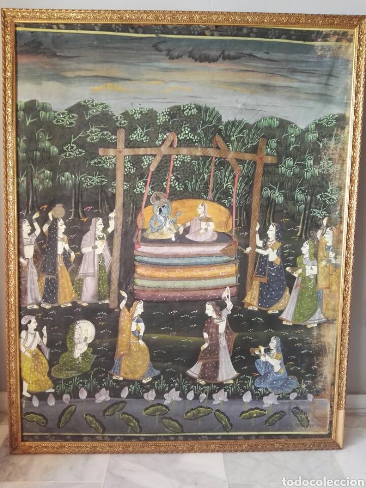 ESPECTACULAR PINTURA INDIA DE GRANDES DIMENSIONES OLEO SOBRE LIENZO O SEDA MUY ANTIGUO (Arte - Pintura - Pintura al Óleo Antigua sin fecha definida)