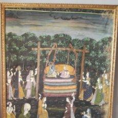 Arte: ESPECTACULAR PINTURA INDIA DE GRANDES DIMENSIONES OLEO SOBRE LIENZO O SEDA MUY ANTIGUO. Lote 130339411