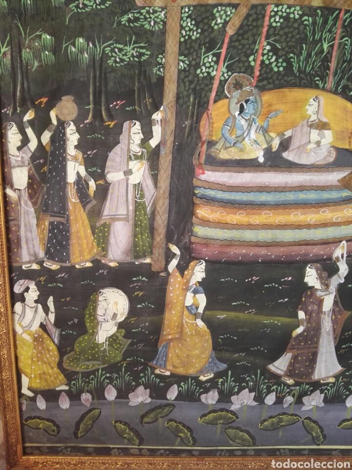 Arte: Espectacular pintura india de grandes dimensiones oleo sobre lienzo o seda muy antiguo - Foto 2 - 130339411