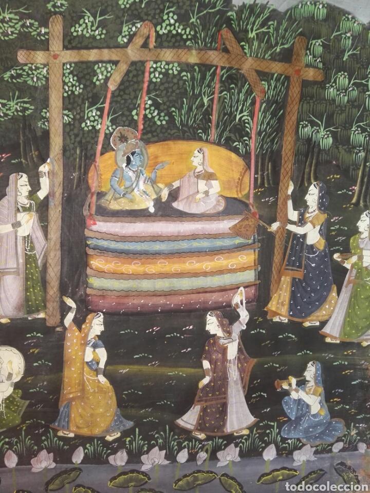 Arte: Espectacular pintura india de grandes dimensiones oleo sobre lienzo o seda muy antiguo - Foto 3 - 130339411