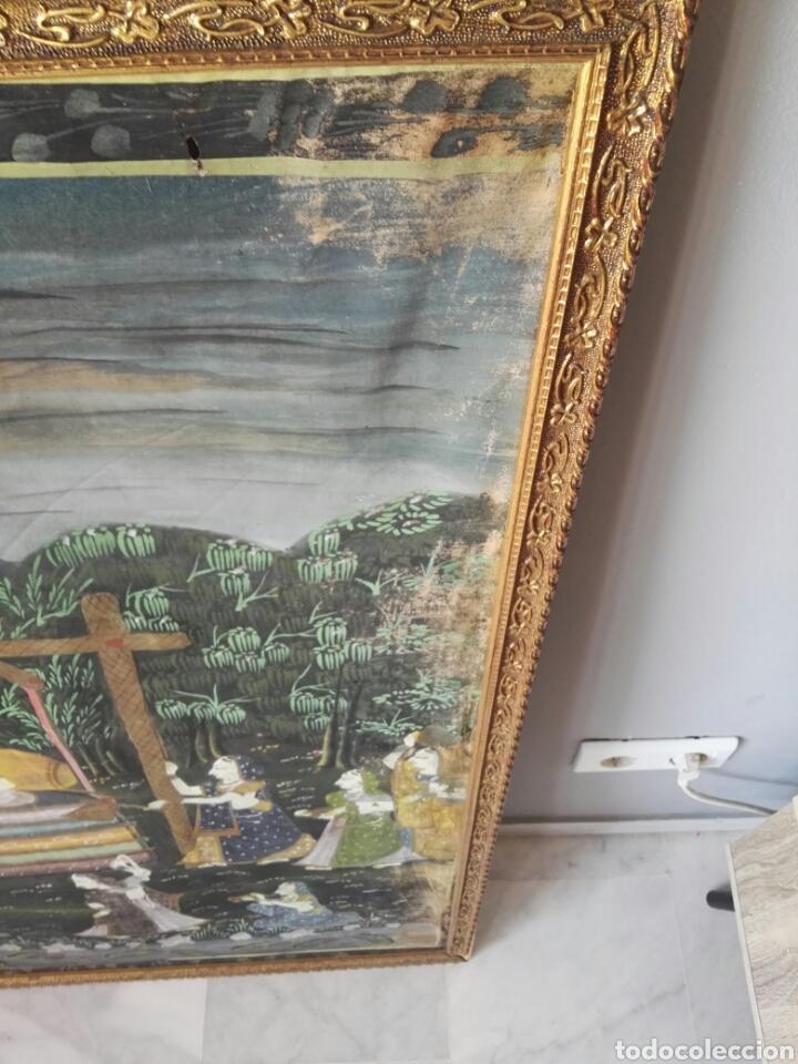Arte: Espectacular pintura india de grandes dimensiones oleo sobre lienzo o seda muy antiguo - Foto 5 - 130339411