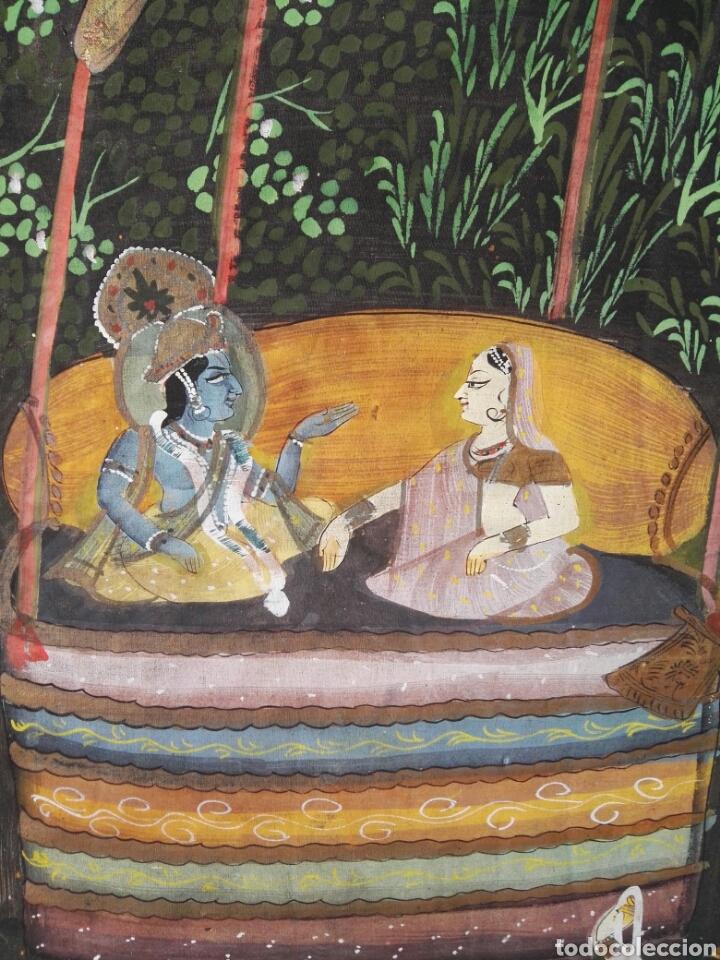 Arte: Espectacular pintura india de grandes dimensiones oleo sobre lienzo o seda muy antiguo - Foto 7 - 130339411