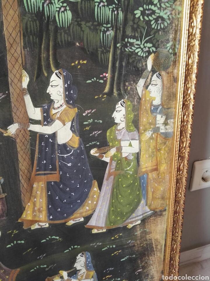 Arte: Espectacular pintura india de grandes dimensiones oleo sobre lienzo o seda muy antiguo - Foto 8 - 130339411