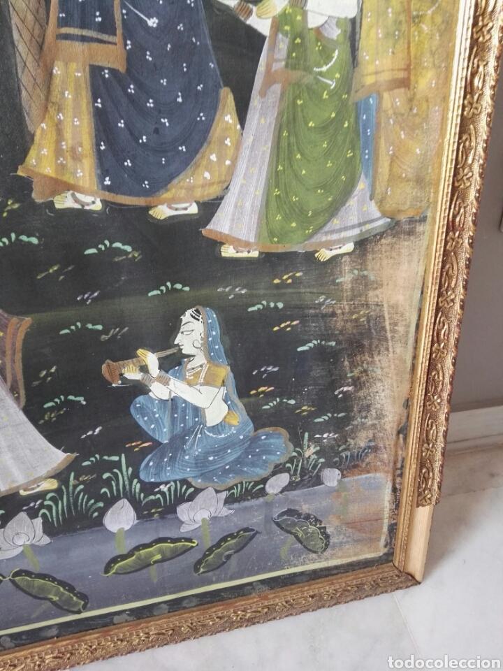Arte: Espectacular pintura india de grandes dimensiones oleo sobre lienzo o seda muy antiguo - Foto 9 - 130339411