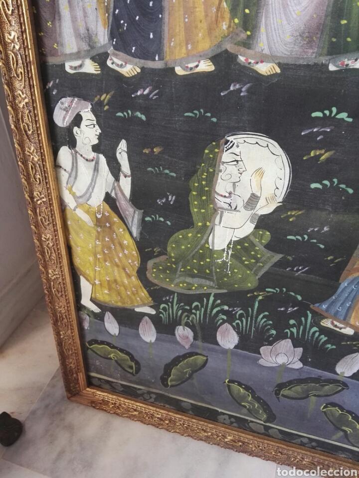 Arte: Espectacular pintura india de grandes dimensiones oleo sobre lienzo o seda muy antiguo - Foto 10 - 130339411