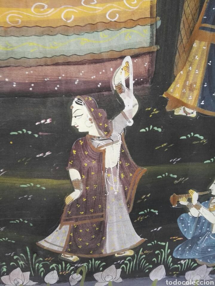 Arte: Espectacular pintura india de grandes dimensiones oleo sobre lienzo o seda muy antiguo - Foto 11 - 130339411