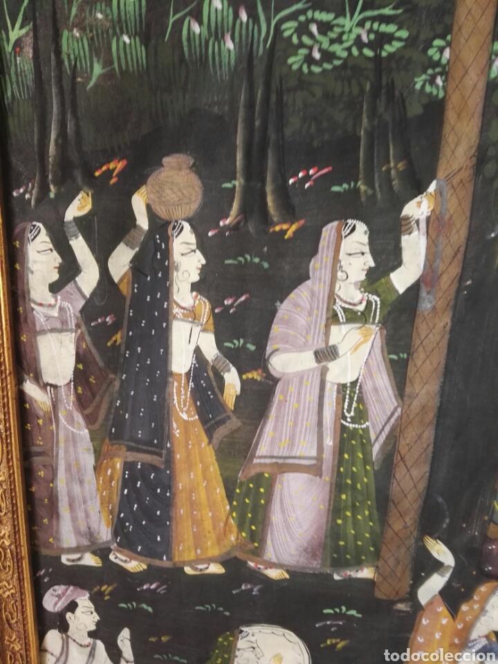 Arte: Espectacular pintura india de grandes dimensiones oleo sobre lienzo o seda muy antiguo - Foto 12 - 130339411