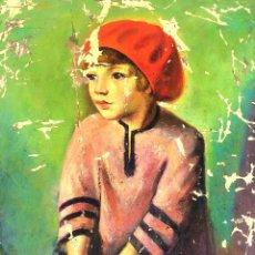 Arte: LA NENA DE LA BOINA VERMELLA. ÓLEO SOBRE LIENZO. FIRMADO FRANCESC DOMINGO. ESPAÑA. 1938. Lote 130404494