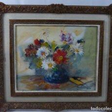 Arte: BODEGON DE FLORES- FIRMADO POR DOMINGO CARLES 1954 (32 X 40 CM)- ÓLEO SOBRE TELA.. Lote 130481738