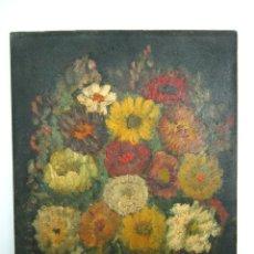 Arte: ANTIGUA BELLA PINTURA AL OLEO SOBRE TABLE - BODEGON CON CAMELIAS. Lote 130543946