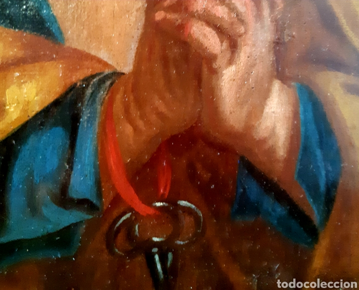 Arte: Óleo sobre lienzo del siglo XVIII representando a San Pedro - Foto 16 - 123099371