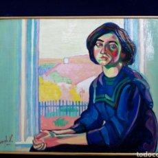 Arte: ÓLEO RETRATO MUCHACHA EN LA VENTANA, AÑOS 60, PAISAJE, FAUVE, FAUVISMO, FAUVISTA. Lote 130687470