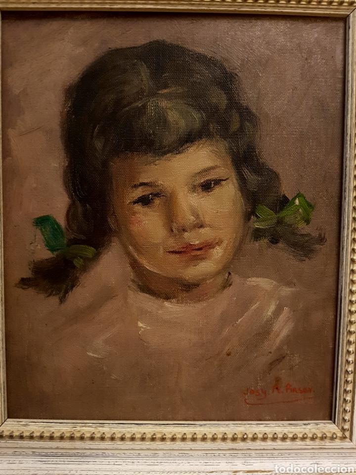 JOSY A. PIRSON (1911-1979) OLEO SOBRE LIENZO, RETRATO DE NIÑA, 36X42CM (ENMARCADO) (Arte - Pintura - Pintura al Óleo Contemporánea )