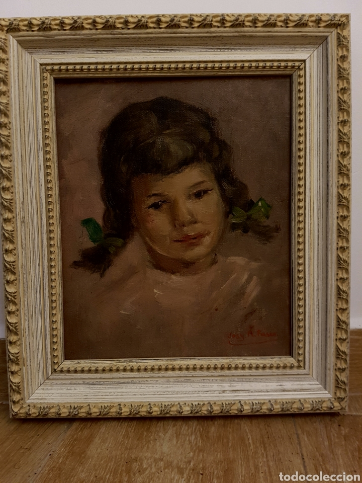 Arte: Josy A. PIRSON (1911-1979) oleo sobre lienzo, retrato de niña, 36x42cm (enmarcado) - Foto 2 - 130855144