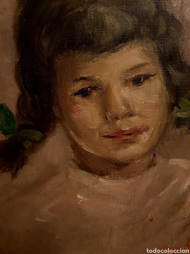 Arte: Josy A. PIRSON (1911-1979) oleo sobre lienzo, retrato de niña, 36x42cm (enmarcado) - Foto 6 - 130855144