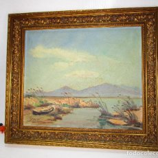 Arte: CUADRO PINTURA ANTIGUA PAISAJE MARCO MADERA DORADA 1958. Lote 130937748