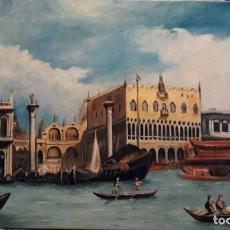 Arte: VENECIANO II. EL GRAN CANAL. LIENZO 55X33. ELIGE MARCO GRATIS A TU GUSTO.. Lote 131076440