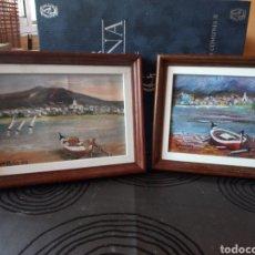 Arte: DOS PEQUEÑOS CUADROS,FIRMA GONZALEZ,PUEBLOS Y BARCAS. Lote 131094675