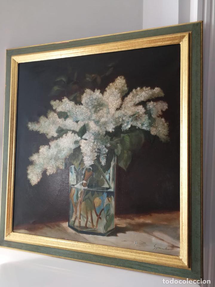 JARRÓN CON FLORES - OLEO SOBRE LIENZO - FIRMADO (Arte - Pintura - Pintura al Óleo Contemporánea )