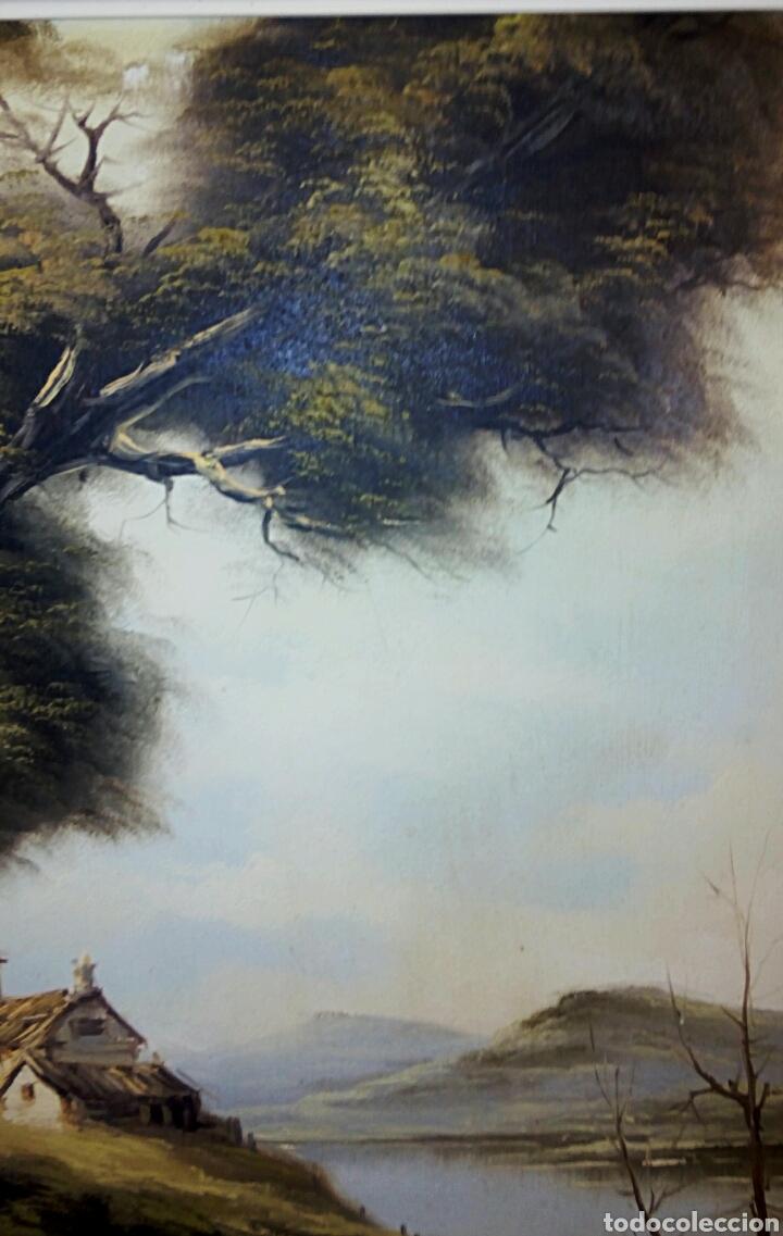 Arte: Oleo sobre lienzo. Paisaje. Pintura costumbrista española de autor. Vintage. Firma ilegible. - Foto 2 - 131237639