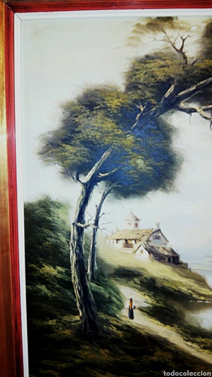 Arte: Oleo sobre lienzo. Paisaje. Pintura costumbrista española de autor. Vintage. Firma ilegible. - Foto 3 - 131237639