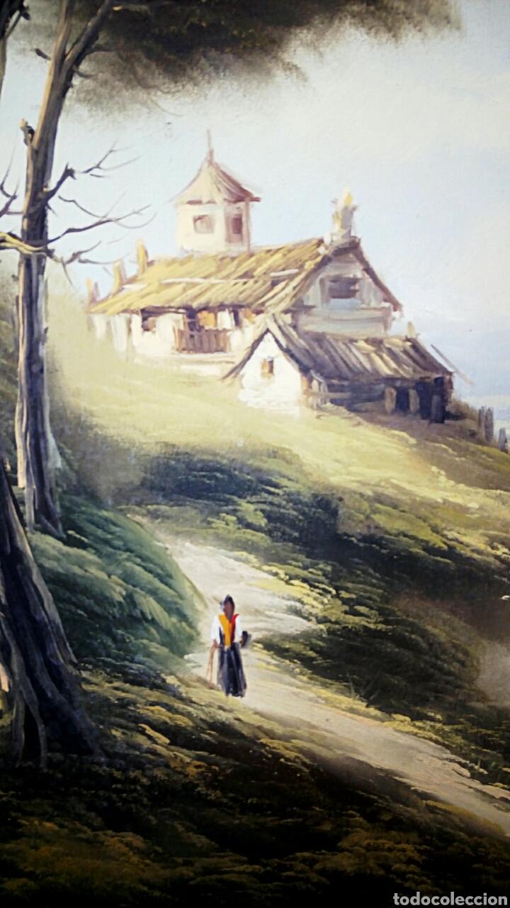 Arte: Oleo sobre lienzo. Paisaje. Pintura costumbrista española de autor. Vintage. Firma ilegible. - Foto 4 - 131237639