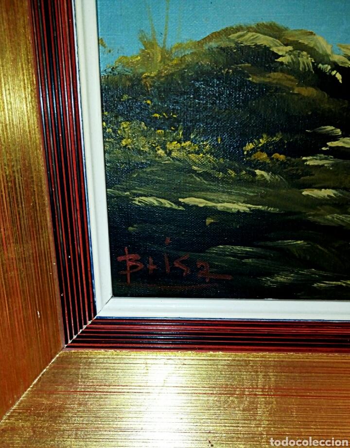 Arte: Oleo sobre lienzo. Paisaje. Pintura costumbrista española de autor. Vintage. Firma ilegible. - Foto 7 - 131237639