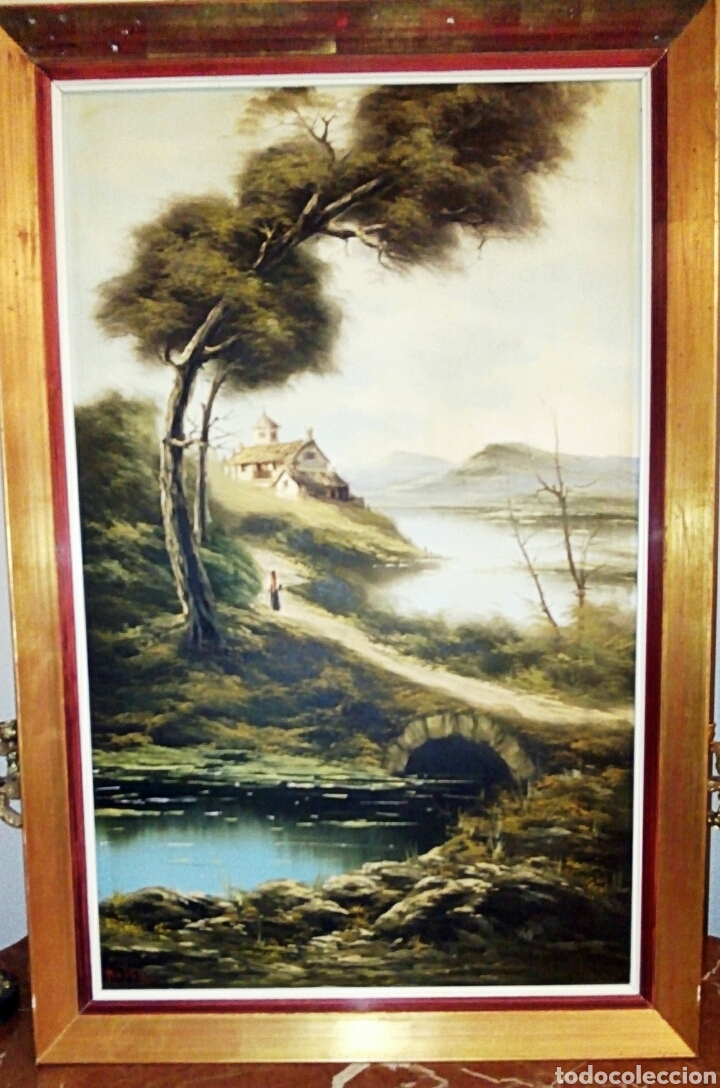 Arte: Oleo sobre lienzo. Paisaje. Pintura costumbrista española de autor. Vintage. Firma ilegible. - Foto 8 - 131237639
