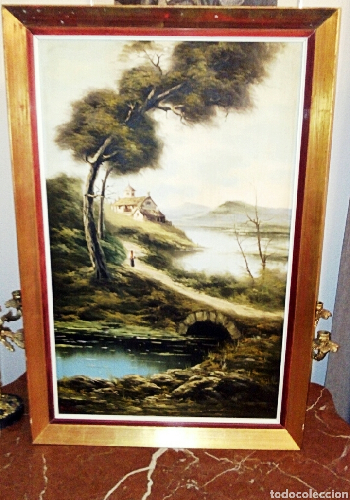Arte: Oleo sobre lienzo. Paisaje. Pintura costumbrista española de autor. Vintage. Firma ilegible. - Foto 9 - 131237639