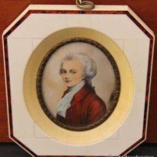 Arte: PINTURA MINIATURA OVALADA SOBRE MARCO DE MARFIL DE WOLFGAN AMADEUS MOZART (1756-1791). Lote 131238195