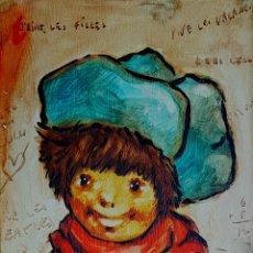 Arte: PRECIOSA PINTURA VINTAGE DE NIÑO, FIRMADA CANTIE. Lote 131286231
