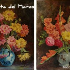 Arte: QUINTANO. DOS CUADROS DE ÓLEO SOBRE TABLERO. FLORES.. Lote 131361726