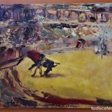 Arte: CUADRO OLEO SOBRE LIENZO TOROS DE IGNACIO DEL RIO FIRMADO Y MARCADO. Lote 131767398