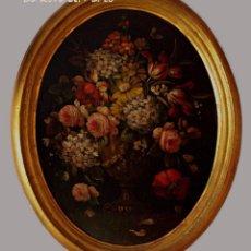 Arte: GARRI O CARRIY ?- FLORES (3) - CUADRO OVALADO DE ÓLEO SOBRE TABLERO ENMARCADO EN MADERA DORADA. Lote 131827950