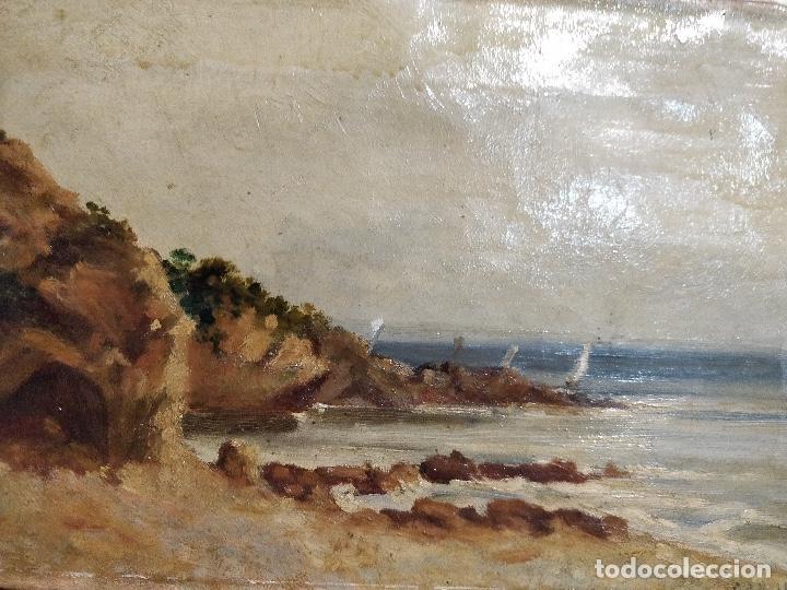 Arte: Oleo sobre lienzo firmado S.XIX con paisaje de playa y rocas. - Foto 2 - 131896142