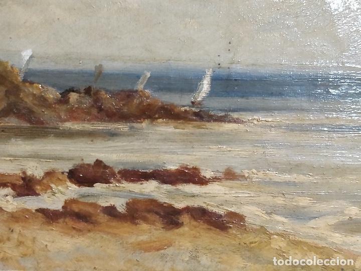 Arte: Oleo sobre lienzo firmado S.XIX con paisaje de playa y rocas. - Foto 3 - 131896142