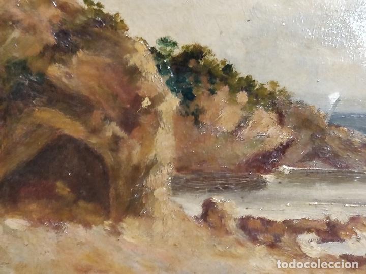 Arte: Oleo sobre lienzo firmado S.XIX con paisaje de playa y rocas. - Foto 4 - 131896142