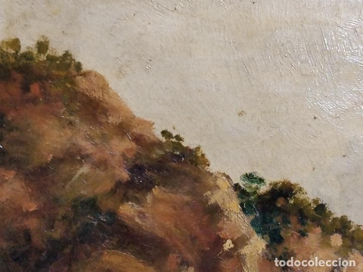 Arte: Oleo sobre lienzo firmado S.XIX con paisaje de playa y rocas. - Foto 5 - 131896142