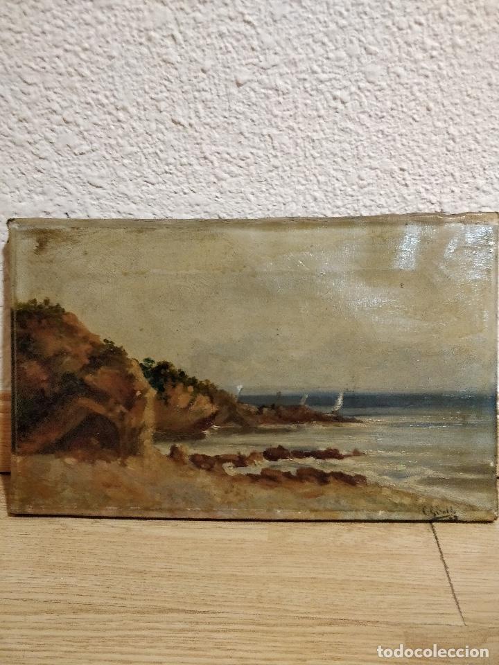 Arte: Oleo sobre lienzo firmado S.XIX con paisaje de playa y rocas. - Foto 6 - 131896142