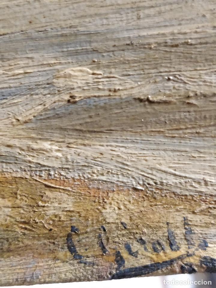 Arte: Oleo sobre lienzo firmado S.XIX con paisaje de playa y rocas. - Foto 7 - 131896142