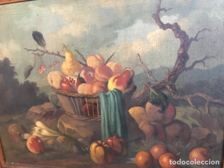 BODEGÓN SIGLO XIX CON PAISAJE FIRMA ILEGIBLE (Arte - Pintura - Pintura al Óleo Antigua sin fecha definida)