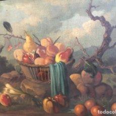 Arte: BODEGÓN SIGLO XIX CON PAISAJE FIRMA ILEGIBLE. Lote 131947378