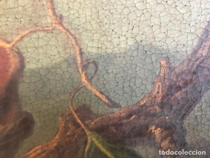 Arte: Bodegón siglo XIX con paisaje firma ilegible - Foto 3 - 131947378