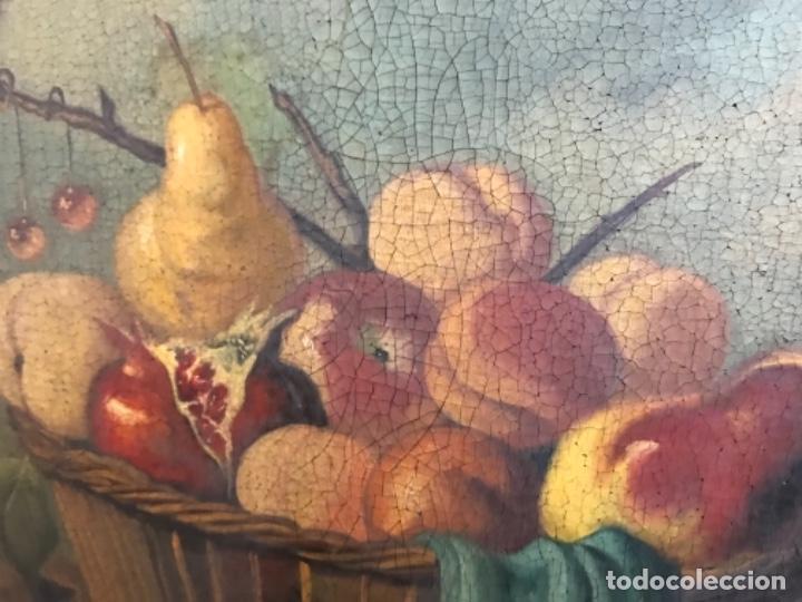 Arte: Bodegón siglo XIX con paisaje firma ilegible - Foto 4 - 131947378