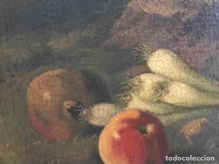 Arte: Bodegón siglo XIX con paisaje firma ilegible - Foto 12 - 131947378