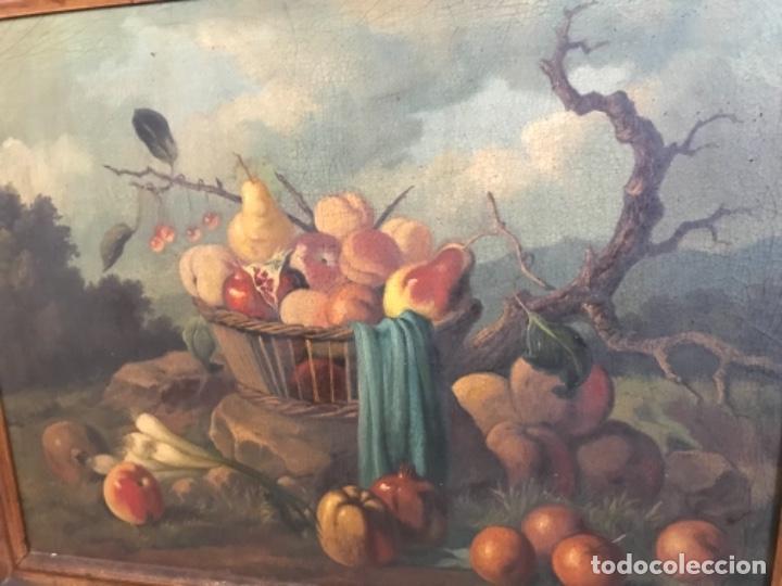 Arte: Bodegón siglo XIX con paisaje firma ilegible - Foto 15 - 131947378