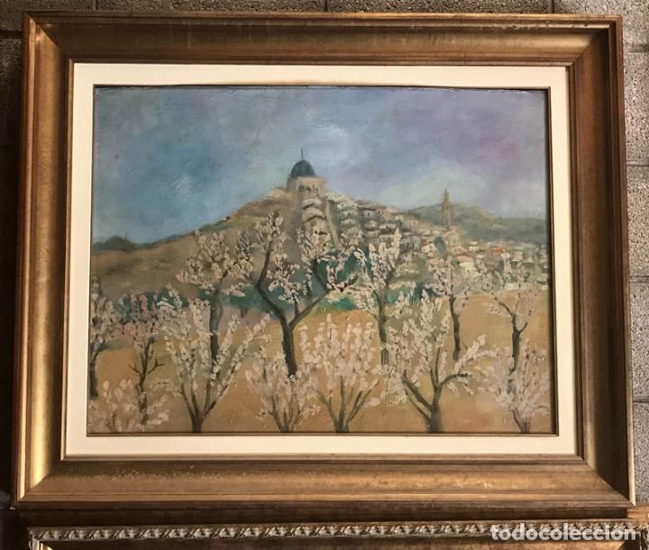 CUADRO OLEO SOBRE TABLA, FIRMADO POR AUTOR JAUME BOIX PAISAJE CON PUEBLO (Arte - Pintura - Pintura al Óleo Contemporánea )