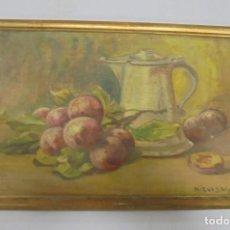 Arte: OLEO SOBRE TELA. BODEGON DE FRUTA Y JARRA. 27 X 18CM. FIRMADO POR NIEVES M.L. 1946. . Lote 140849812