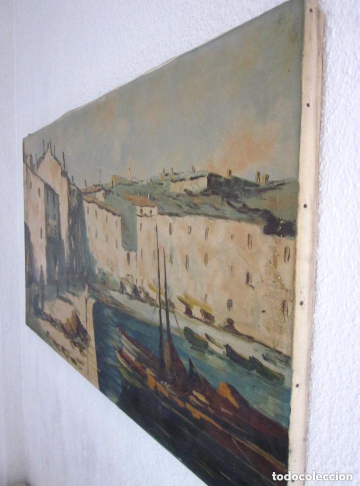 Arte: Excelente Pintura Óleo sobre lienzo sin firma escena pescadores vascos ? embarcadero redes marina - Foto 3 - 131981258